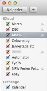 iCal-Kalenderliste